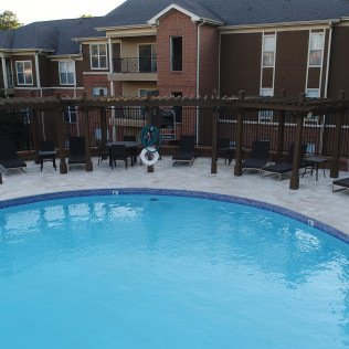 A commercial pool in an apartment complex in Charlotte, NC